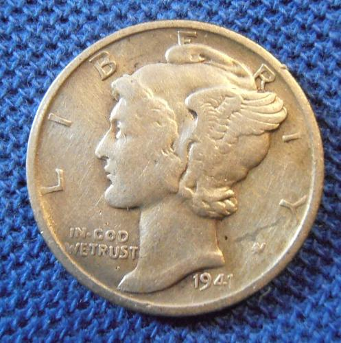 1941 S Mercury Silver Dime (41SLM1)