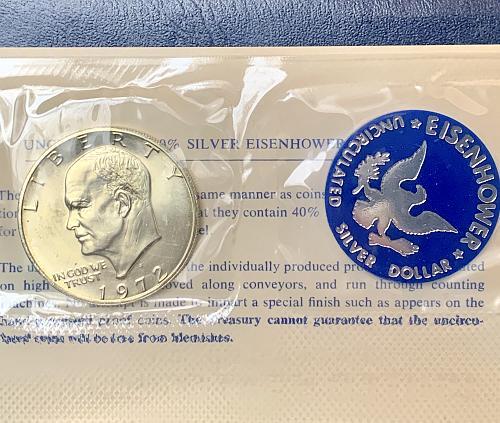 "1972-S ""BLUE IKE"" GORGEOUS CH. BU ""Original Govt. Packaging"" w/ COA 40%"