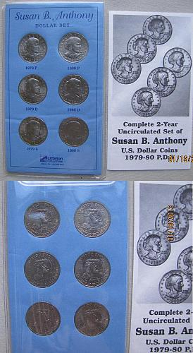 1979 &1980 P,D,S Susan B Anthony Dollar 6 Coin Mint Set in Littleton Coin Folder