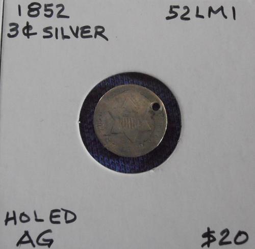 1852 Pre-Civil War 3C Silver coin (52LM1)