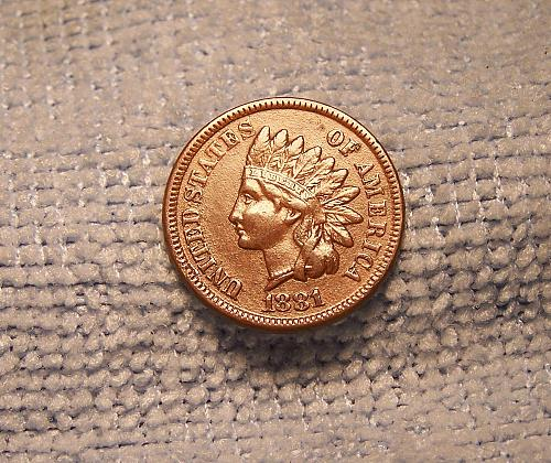 1881  INDIAN HEAD CENT  au brown red