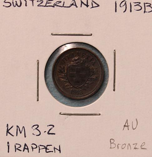 Switzerland 1913B 1 rappen