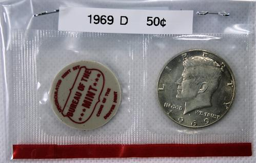 1969 D Kennedy Half Dollar ***Sealed in US Mint Cellophane - included Mint Medal