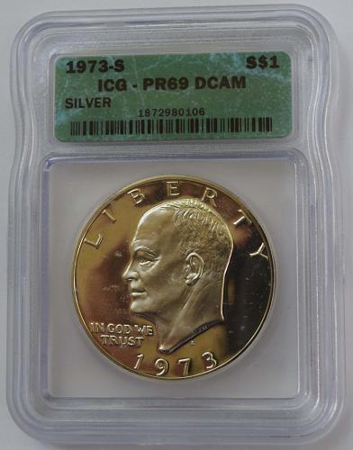 1973 S $1 Silver Eisenhower Dollar Proof ICG PR69 DCAM