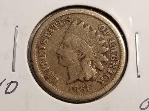 1861 Indian Head Cent P (VG)