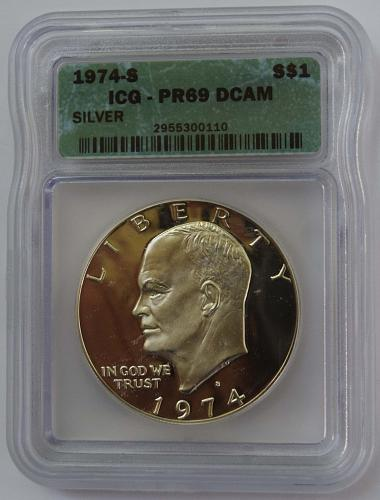 1974 S $1 Silver Eisenhower Dollar Proof ICG PR69 DCAM