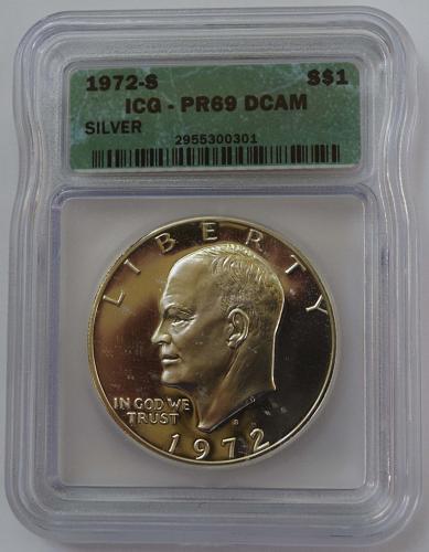 1972 S $1 Silver Eisenhower Dollar Proof ICG PR69 DCAM