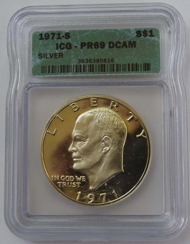 1971 S $1 Silver Eisenhower Dollar Proof ICG PR69 DCAM