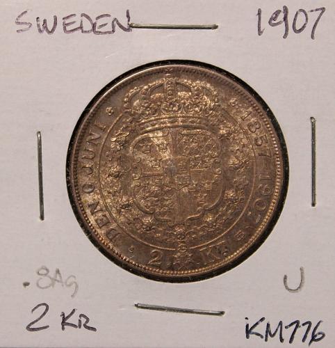 Sweden 1907 2 Kroner
