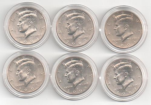 2002 - 2007 Kennedy Half Dollars 6 US coins