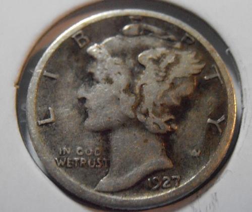 1927 S Mercury Silver Dime,  (27SAC1)