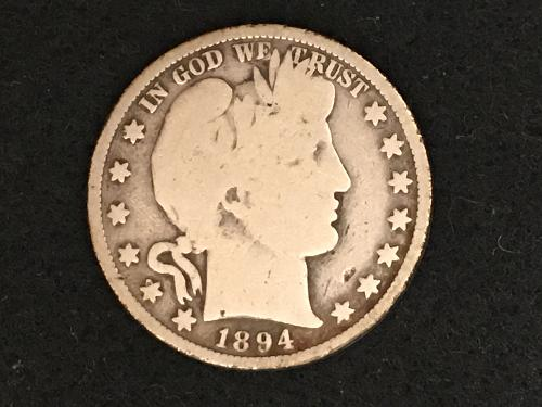 1894 P Barber Half Dollar Better Date FREE SHIPPING!