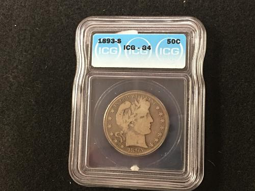 1893 S Barber Half Dollar Good 4 G4 ICG Key Date Combined Shipping