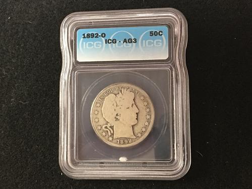 1892 O Barber Half Dollar About Good 3 AG3 ICG Key Date Combined Shippi