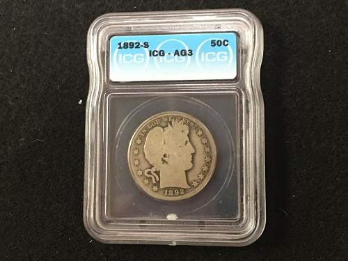 1892 S Barber Half Dollar About Good 3 AG3 ICG Key Date Combined Shipping