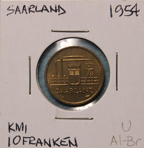Saarland 1954 10 franken