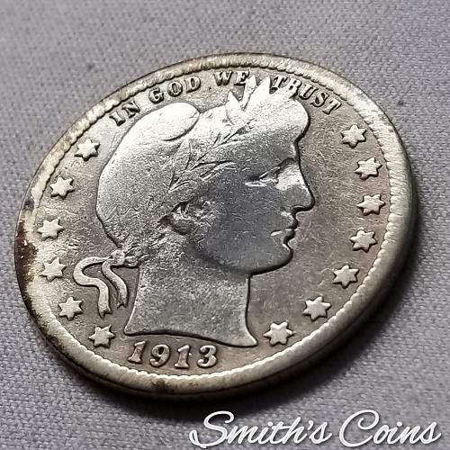 1913 Barber Quarter - Good