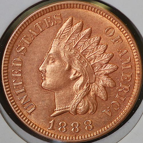 1888 Indian Head Cent - Red Gem BU / MS RD / UNC