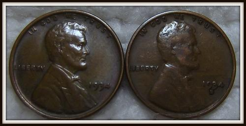 1934 - P,D 1C Lincoln Wheat Cents