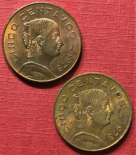 """Mexico 1973 = 5 Centavos [both """"flat 3"""" and """"round 3"""" in date]"""