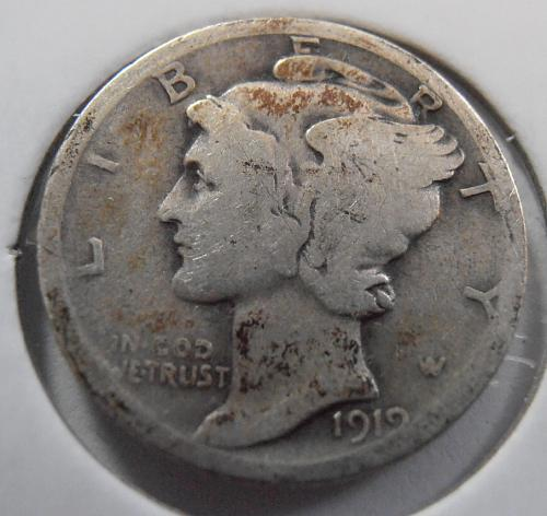 1919 D Mercury Silver Dime (19DAC2)