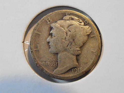 1918 P Mercury Silver Dime (18PAC2)