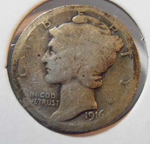 1916 P Mercury Silver Dime (16PAC3)