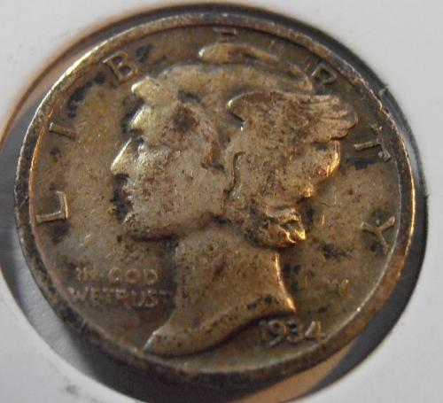 1934 P Mercury Silver Dime (34PAC6)