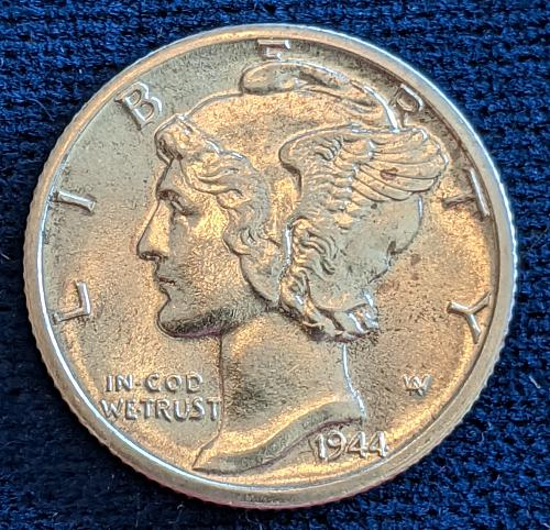 1944 D CHOICE BU MERCURY DIME WITH FULL SPLIT BANDS