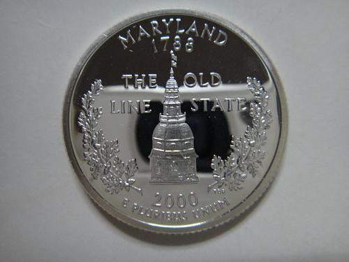 Statehood Quarter 2000-S Maryland SILVER Proof-65 (GEM)