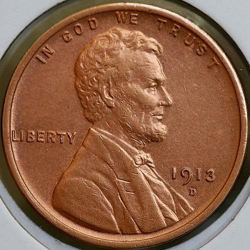 1913 D Lincoln Wheat Cent - Choice BU / MS / UNC