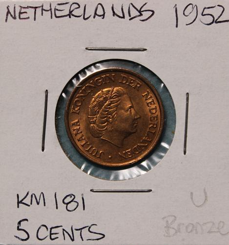 Netherlands 1952 5 cents