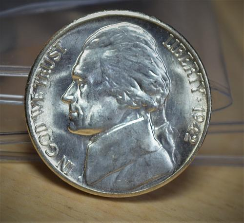 1942 S Jefferson Silver Nickel - BU with 4 Steps