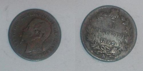 ITALY 1862N 5 Centesimi coin very good