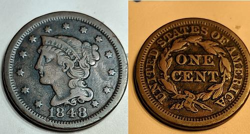1848  Braided Hair Penny 1C Type FINE