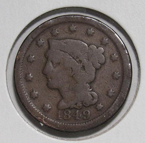 1849 P Braided Hair Liberty Head Large Cent