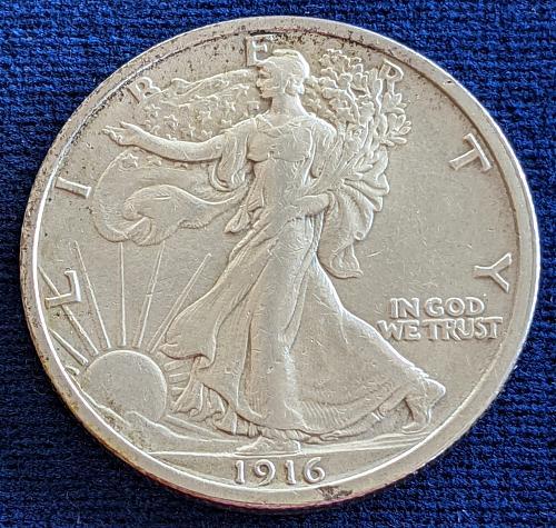 1916 AU WALKING LIBERTY HALF DOLLAR