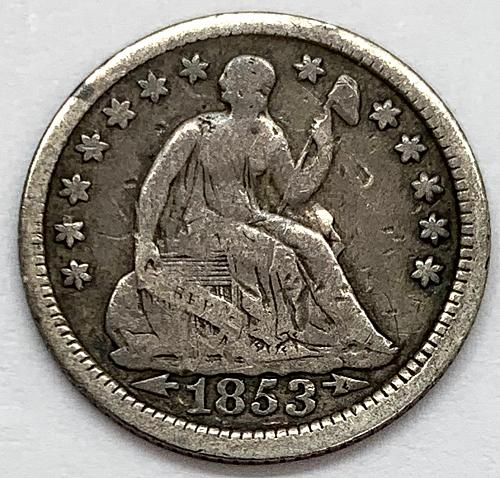 1853 Seated Liberty Half Dime - Arrows at Date - Cleaned