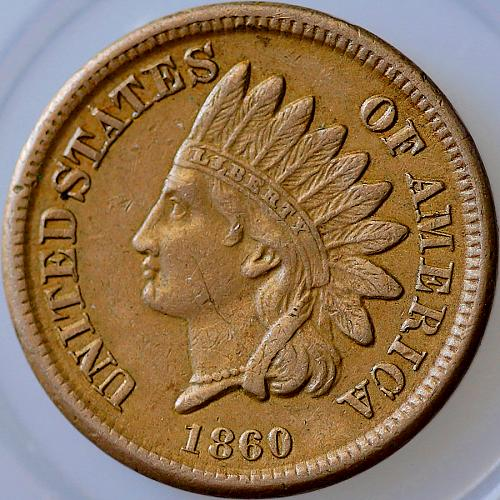 1860 Indian Head Cent - AU / Almost Uncirculated