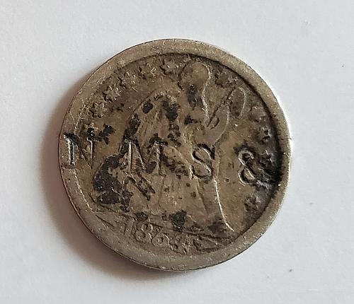 1854 Seated Liberty Dime - Counter stamp - 0142