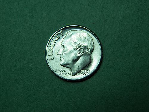 1955 P Roosevelt Dime Brilliant Uncirculated Coin  u11