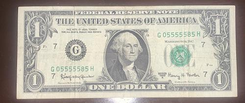 1963-A $1.00 UNIQUE SERIAL #: G05555585H (NEARLY 7 5s in a row) FEDERAL RESERVE