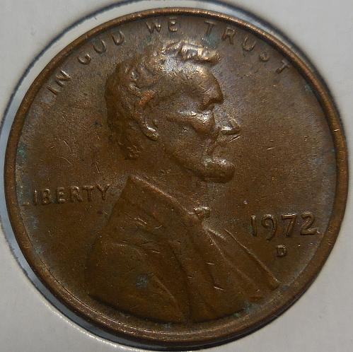 1972-D Lincoln Cent Struck Through Grease