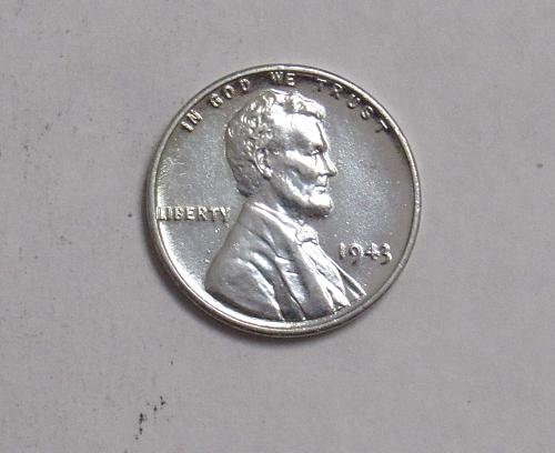 1943 P Lincoln Wheat Cent: Steel Cent Uncirculated