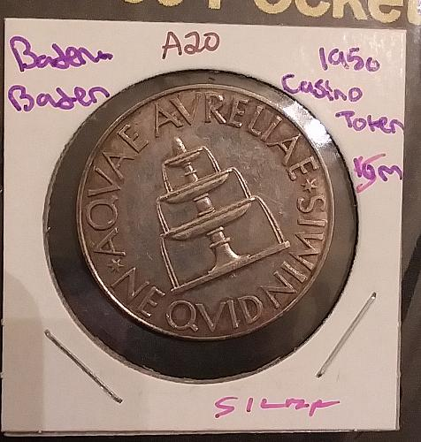 Nicely toned 1950 Baden, Germany 🇩🇪 Silver Casino Chip