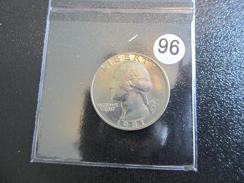 1981-P Washing Quarters MS-65 GEM Packaged in 2 x 2 Coin Flaps  (Box 8B #96)