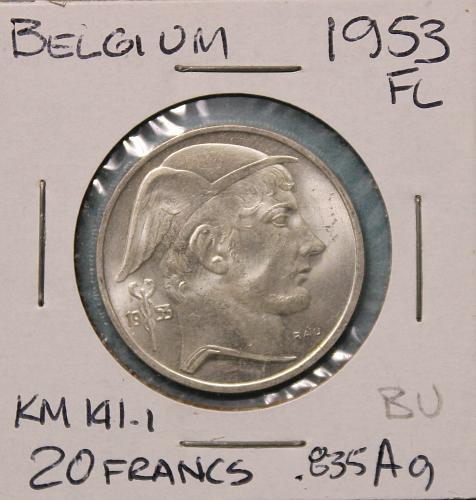 Belgium 1953FL 20 Francs