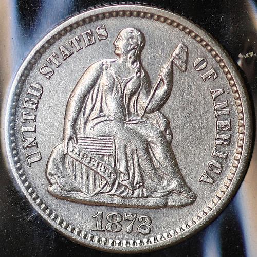 1872 Seated Liberty Half Dime - Choice BU / MS / UNC