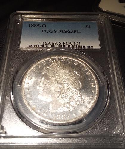 PCGS MS 63 PL 1885-O Morgan Silver $