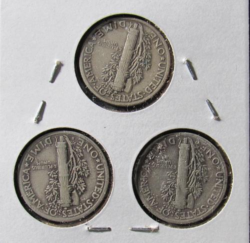 1940 PDS Trio of Mercury Dimes